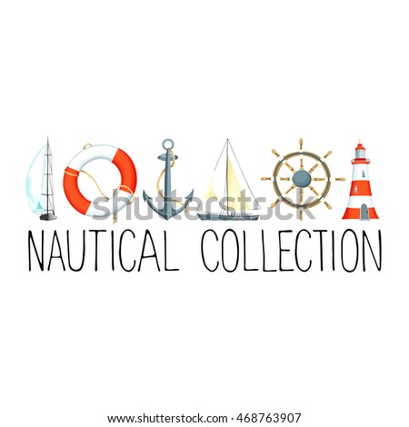 Banner headline nautical elements template text stock vector banner or headline with nautical elements template for text there are lighthouse sailboat pronofoot35fo Images