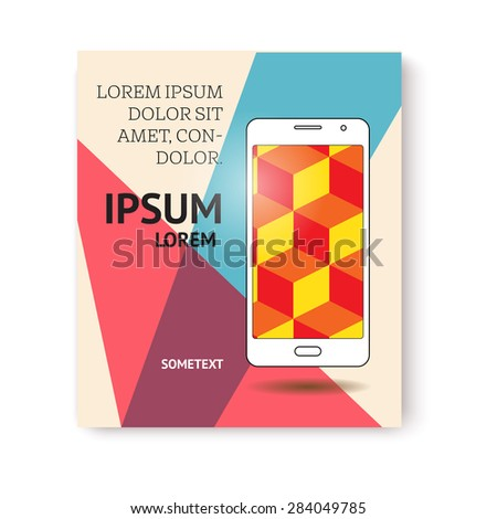 banner or page design with mobile phone - stock vector