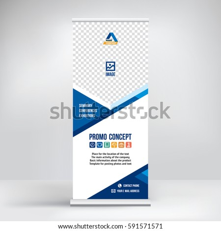 Banner Rollup Vector Blue Graphic Template Stock-Vektorgrafik ...
