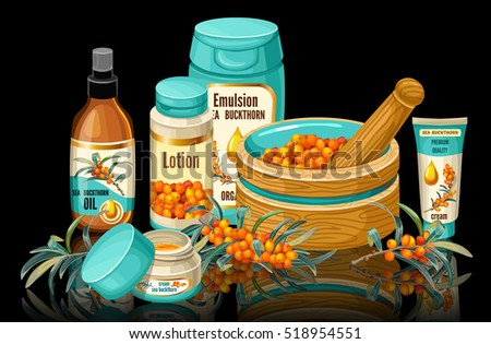 Banner sea buckthorn and cosmetic collection.