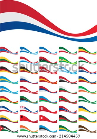 banner set of flags of world - stock vector