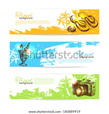 Banner set of travel colorful tropical splash backgrounds. Holiday banners with hand drawn sketch illustrations - stock vector
