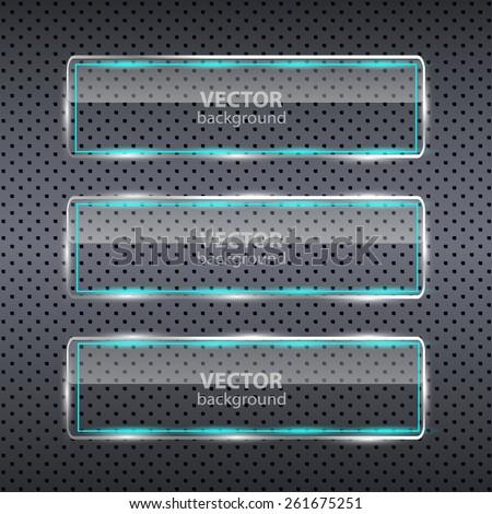 Banner set over metallic background. Glass frames. Abstract black technology background with transparent design element. Infographics element. Vector illustration. - stock vector