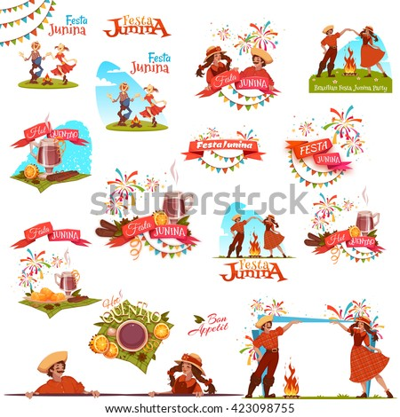 Banner set with ribbons for Festa Junina Brazil party. Vector illustration. - stock vector