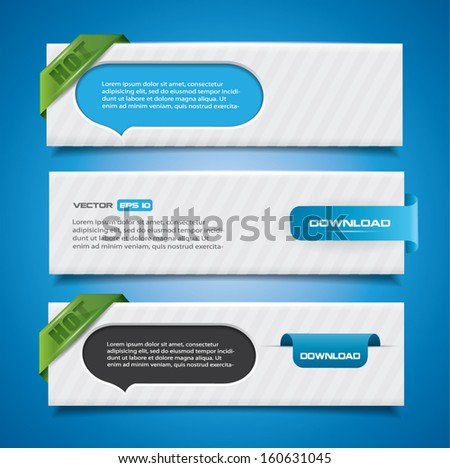Banner set with speech bubbles and labels - stock vector