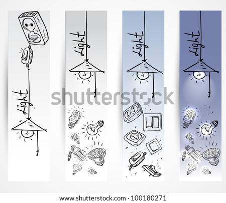 banner Sketch of different light bulbs switches and sockets - stock vector