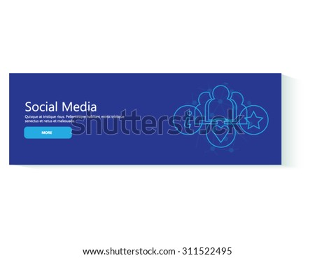 Banner social media in flat design. Business, people and marketing icons. - stock vector