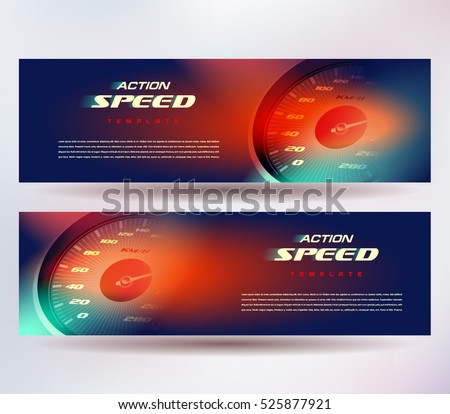 Banner speed action fast speedometer car