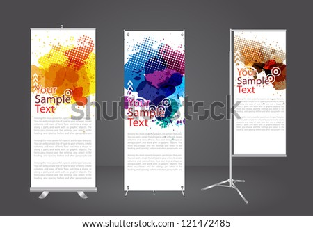 banner stand display with watercolor splatter identity template, Vector illustration - stock vector