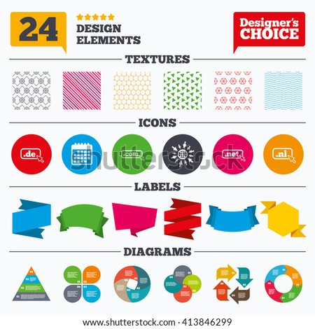 Banner tags, stickers and chart graph. Top-level internet domain icons. De, Com, Net and Nl symbols with cursor pointer. Unique national DNS names. Linear patterns and textures. - stock vector