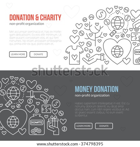Banner template with charity and donation icons and symbols. Line style vector illustration. Charity work image or web site design for non-profit. - stock vector