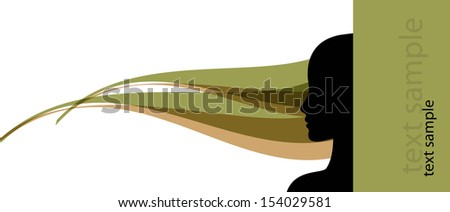 banner template with female profile silhouette vector illustration - stock vector