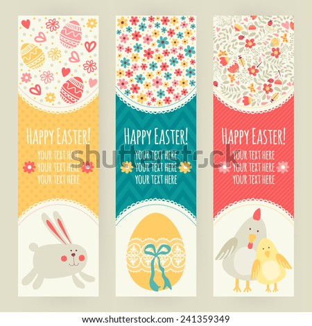 Banner templates. Happy Easter! - stock vector