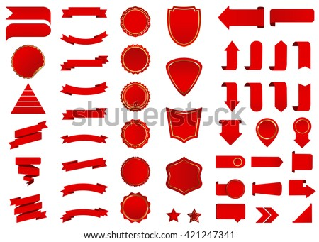 Banner vector icon set red color on white background. Ribbon isolated shapes illustration of gift and accessory. Christmas sticker and decoration for app and web. Label, badge and borders collection. - stock vector