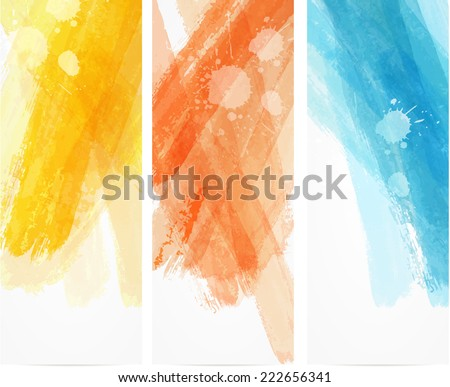 Banner vertical templates with watercolor imitation lines - stock vector