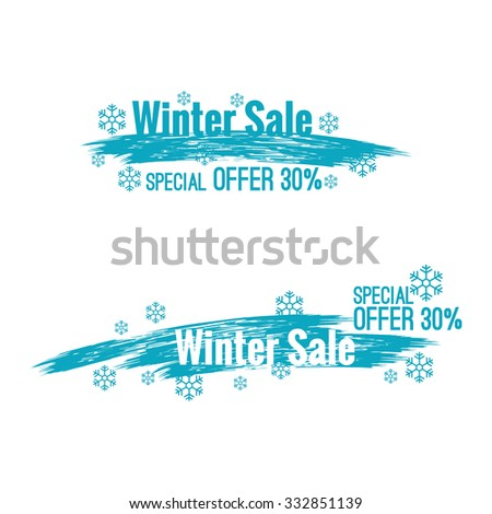 Banner winter sale with Smear a watercolor painting and snow. Special offer. - stock vector