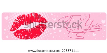 Banner with a lipstick mark - stock vector