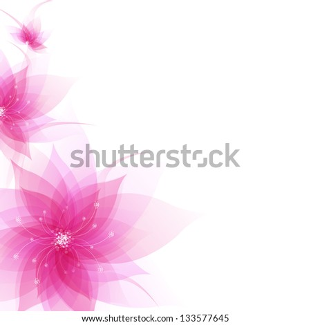 Banner With Abstract Flowers With Gradient Mesh, Vector Illustration - stock vector
