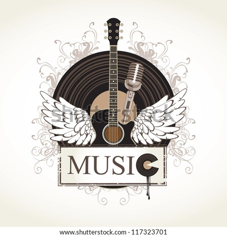 banner with an acoustic guitar and a gramophone record - stock vector