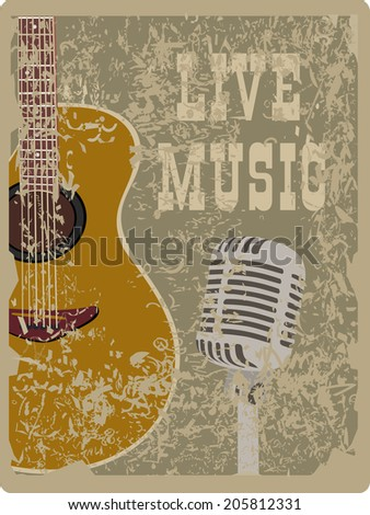 banner with an acoustic guitar and microphone on a grunge background - stock vector