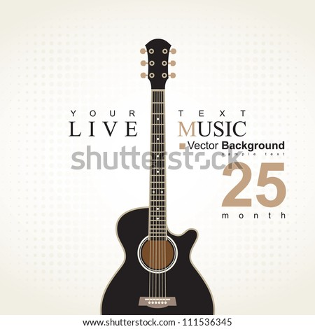 banner with an acoustic guitar on a beige background - stock vector