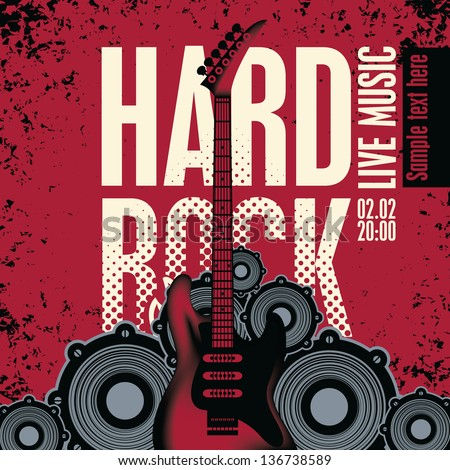 banner with an electric guitar speakers and the words Hard Rock - stock vector