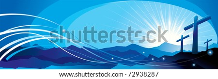 banner with an image of three crosses and the divine rays - stock vector