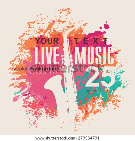 banner with an saxophone on grungy color background - stock vector