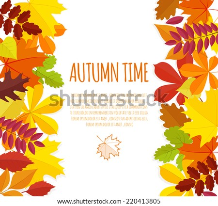 banner with autumn foliage.vector illustration eps10 - stock vector