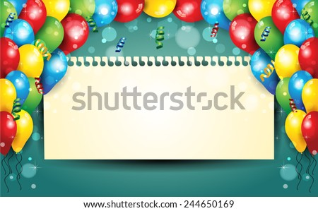 Banner with balloons and confetti sheet where you enter your text-With sheet where you can enter your own text-Transparency blending effects and gradient mesh-EPS 10 - stock vector