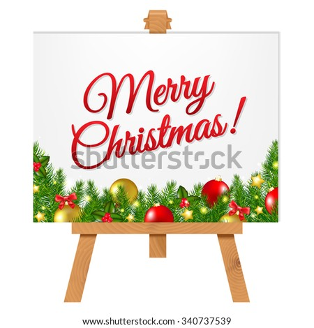 Banner With Christmas Border With Gradient Mesh, Vector Illustration - stock vector