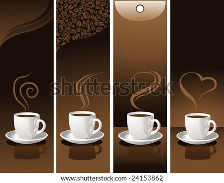 banner with coffee cups - stock vector