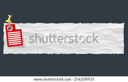 banner with crumpled paper and email icon - stock vector
