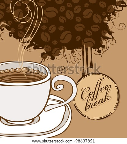 banner with cup of coffee and grains - stock vector