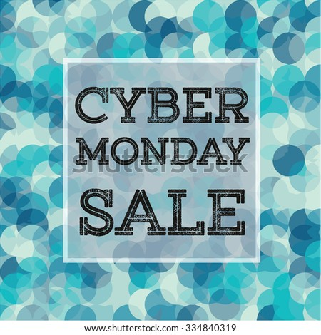 Banner with CYBER MONDAY SALE sign in frame on abstract background. Vector illustration. vector stock.  Dark sparkling and light background. Blue lights background.  - stock vector