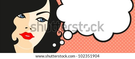 Banner with female face and thinking bubble