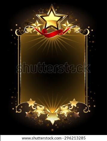 banner with five gold stars on a dark background. - stock vector