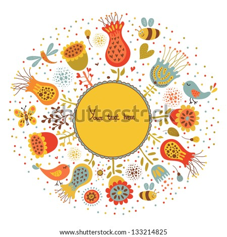 Banner with flowers and place for your text in vector. Invitation card. - stock vector