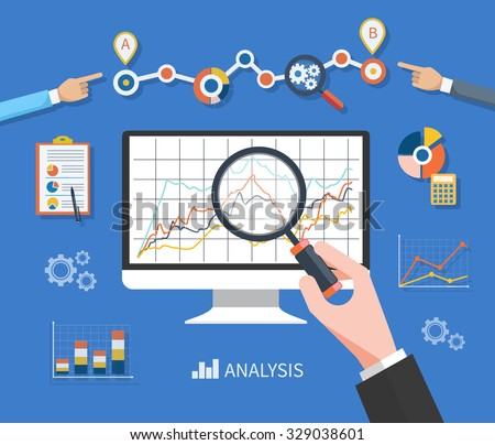 Banner with focused magnifying glass on gear and multicolored pie chart with name Data analysis on blue background. Hand holding a magnifying glass at the monitor with the schedule graph - stock vector