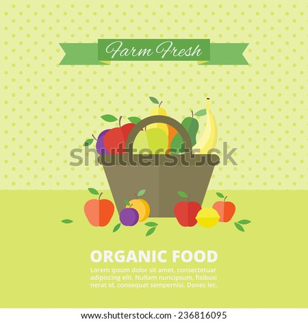 Banner with fresh fruits and berries in basket. Vector illustration in flat style. Organic food, concept healthy food - stock vector
