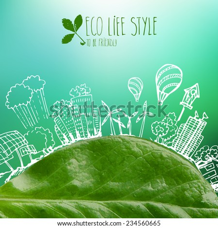 Banner with green leaves and doodles - ecological background