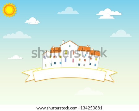 banner with houses - stock vector