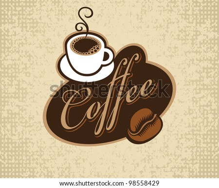banner with inscription coffee, cup and grain - stock vector