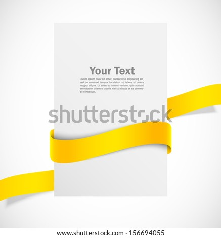 Banner with orange ribbon  - stock vector