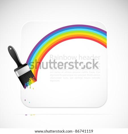 Banner with rainbow brush. Vector illustration. - stock vector