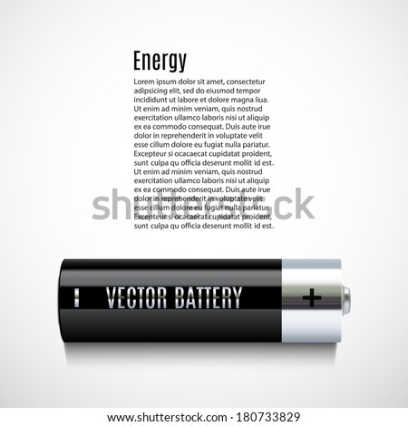 Banner with realistic battery. Perfect for your presentations. Vector illustration - stock vector