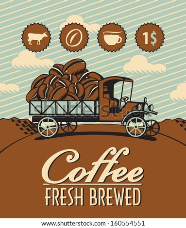 banner with retro truck and coffee beans - stock vector