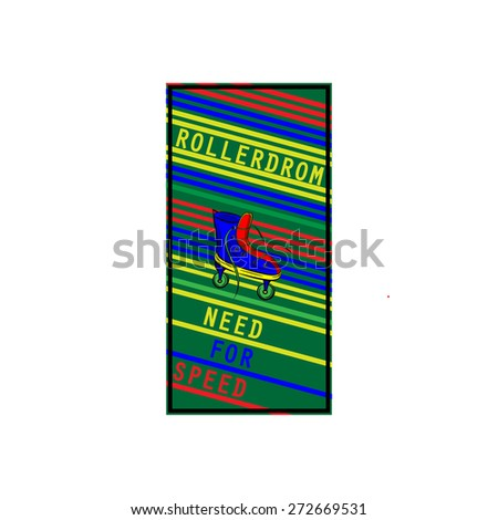 banner with roller skates, rollerdrom - stock vector