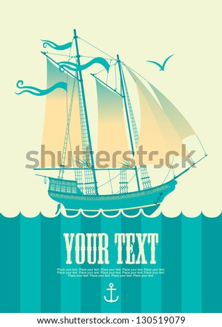 banner with sailing boat and seagull - stock vector