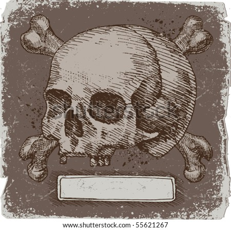banner with skull and bones - stock vector